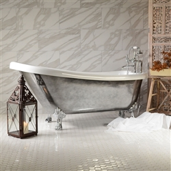 "<br>Aged Chrome Exterior 'SEBASTIANO57C' 57"" CoreAcryl Acrylic Single Slipper Clawfoot Tub and Faucet Package"