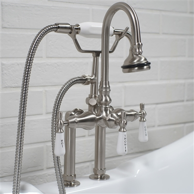 edwardian deck mount tub faucet in brushed nickel