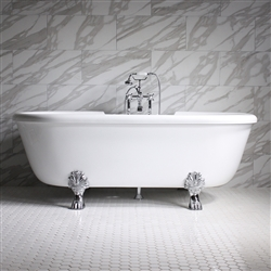 "<br>Empress EM69N 69"" Hydromassage Water and Air Jetted Double Ended Clawfoot Tub Package with Accessories"