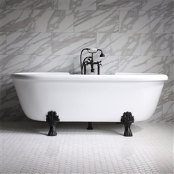"<br>Empress EM75N 75"" Hydromassage Water and Air Jetted Double Ended Clawfoot Tub Package with Accessories"