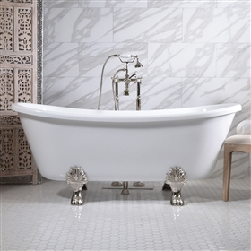 "<br>HLBT59FPK 59"" Hotel Collection CoreAcryl AcrylicFrench Bateau Clawfoot Tub and Faucet Pack"