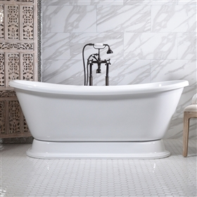 "<br> VTABT67 67"" AIR Massage Whirlpool French Bateau Tub Package with 20 Jets and Built-in Heated Blower"