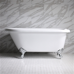 "<br>HLFL53 53"" Hotel Collection CoreAcryl Acrylic  Classic Clawfoot Tub with Feet"