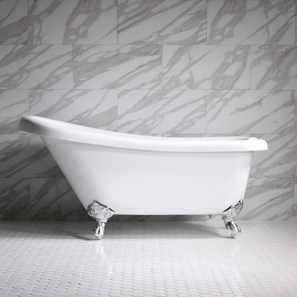 HLSL59 59 Hotel Collection Single Slipper Clawfoot Tub With Feet