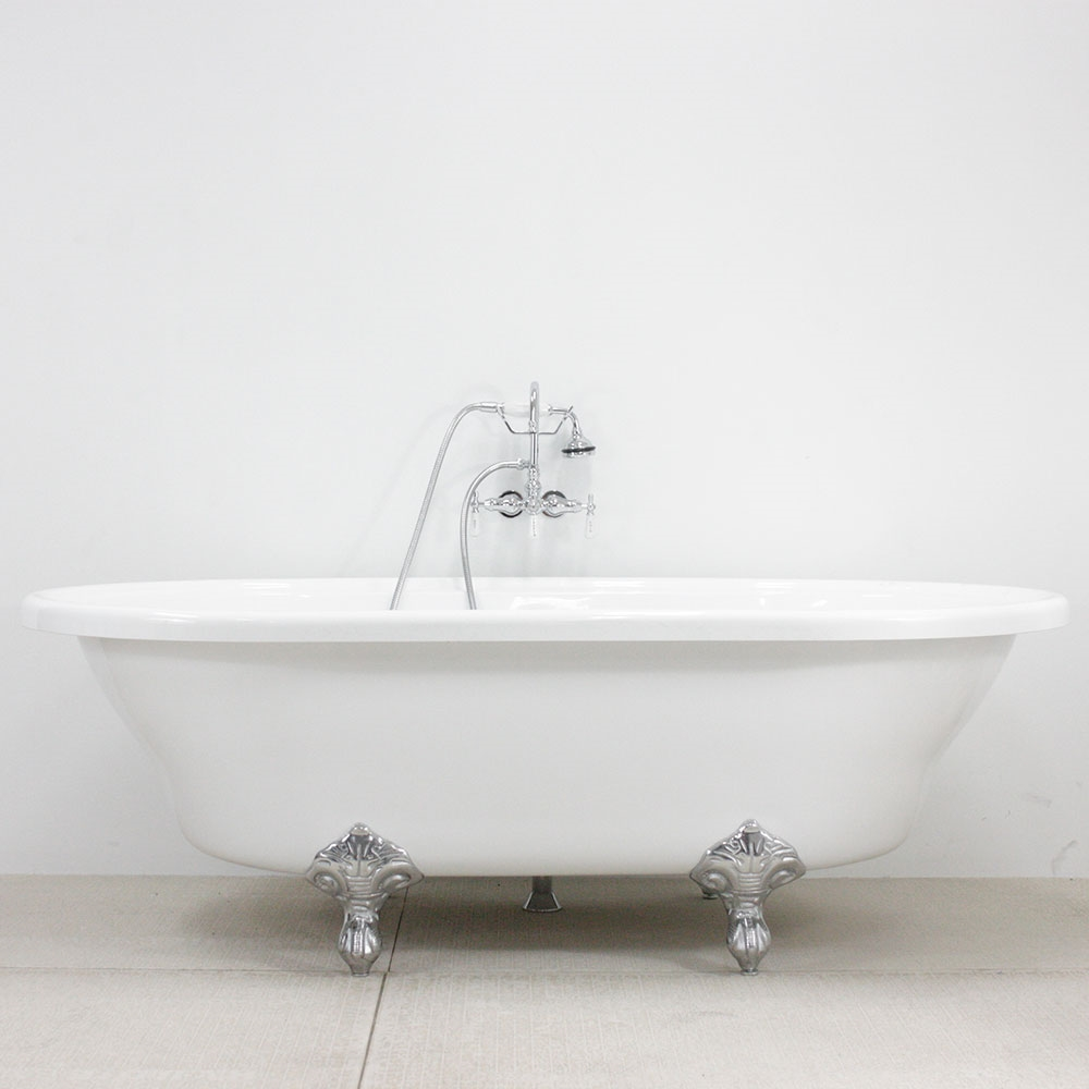 HLXL73FPK Hotel Collection Extra Large Double Ended Clawfoot Tub And Fa