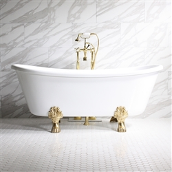 "<br>'PROPERZIA67' 67"" CoreAcryl BISCUIT Acrylic French Bateau Clawfoot Tub with Medici Cast Iron feet and fittings in chrome"