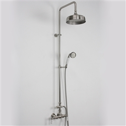 <br>Edwardian Exposed Wall Shower with Diverter and Handheld in Brushed Nickel