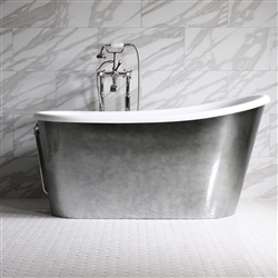 "<br>'CARLO58' 58"" CoreAcryl White Acrylic Swedish Slipper Tub Package with Aged Chrome Skirt"