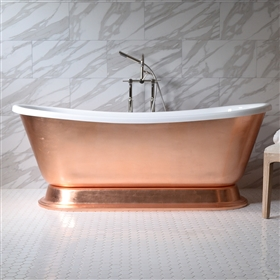 "<br>'CATERINA73' 73"" CoreAcryl WHITE Acrylic French Bateau Pedestal Tub with Copper Leaf Exterior plus Faucet Package"
