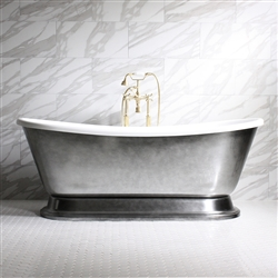 "<br>'CHRISTOFORO-AIR73' 73"" CoreAcryl Acrylic French Bateau Pedestal HOT AIR JETTED Bathtub Package with Aged Chrome Exterior"