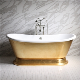 "<br>'CLEOPATRA59' 59"" CoreAcryl WHITE Acrylic French Bateau Pedestal Tub with Umber Wash Egyptian Gold Leaf Exterior plus Faucet Package"