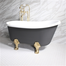 "<br>'COSIMO62' 62"" WHITE CoreAcryl Acrylic Swedish Slipper Clawfoot Tub Package with Iron Effect Exterior"