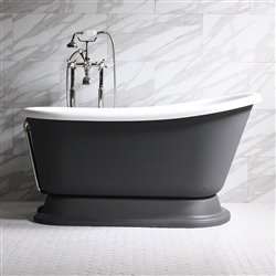 "<br>'DONATO58' 58"" WHITE CoreAcryl Acrylic Swedish Slipper Pedestal Tub Package with Iron Effect Exterior"