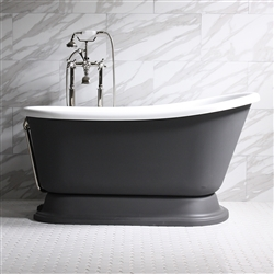 "<br>'DONATO62' 62"" WHITE CoreAcryl Acrylic Swedish Slipper Pedestal Tub Package with Iron Effect Exterior"