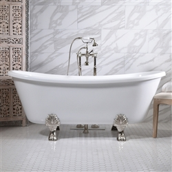 "<br>'FEDERIGO73' 73"" CoreAcryl WHITE Acrylic French Bateau Clawfoot Tub and Faucet Package"