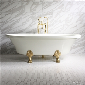 "<br>'FRANCESCA' 73"" Extra Wide WHITE CoreAcryl Acrylic Double Ended Clawfoot Tub with Medici Cast Iron feet and fittings in chrome"
