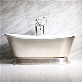 "<br>'GIANETTA59' 59"" CoreAcryl WHITE Acrylic French Bateau Pedestal Tub with Umber Wash Aged Silver Leaf Exterior plus Faucet Package"