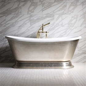 "<br>'GIANETTA73' 73"" CoreAcryl WHITE Acrylic French Bateau Pedestal Tub with Umber Wash Aged Silver Leaf Exterior plus Faucet Package"