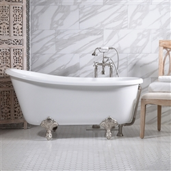"<br>'GRITTI54' 54"" CoreAcryl WHITE Acrylic Swedish Slipper Clawfoot Tub with Medici Feet and Fittings in Oil Rubbed Bronze"