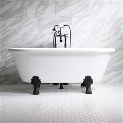 "<br>'ISOTTA' 67"" CoreAcryl WHITE Acrylic Double Ended Clawfoot Tub with Medici Cast Iron feet and fittings in chrome"