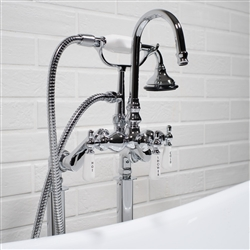 <br>SanSiro Edwardian Rigid Free Standing Tub Faucet in Chrome