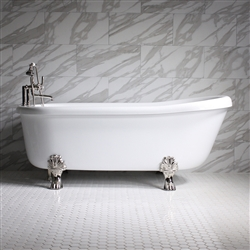 "<br>SS67A 67"" SanSiro AIR Jetted Single Slipper Clawfoot Tub Package with Chromotherapy"
