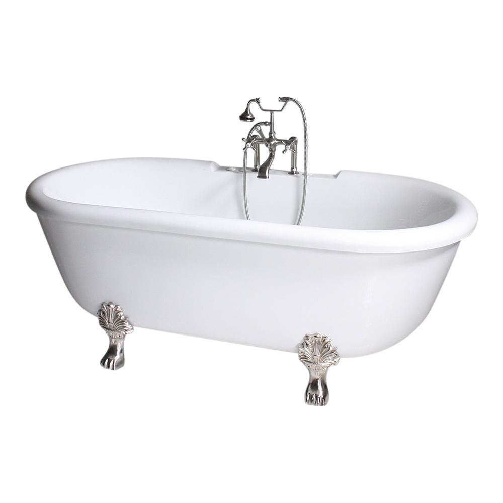 SanSiro Water Whirlpool Jetted Vintage Clawfoot Free Standing Bath Tub