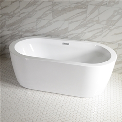 <br>'Augusta71C' 71 x 35 inch Center Drain High Gloss White ACRYLIC Freestanding Soaker Bathtub and Deck Mounted Tub Filler