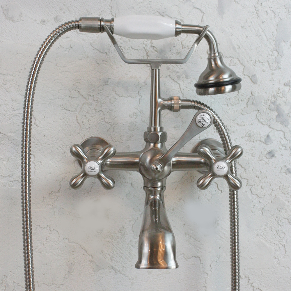 Victoriana Wall Mount Tub Faucet Brushed Nickel