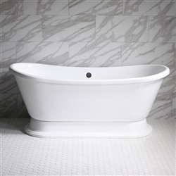 "<br>VTABT59 59"" HOT AIR Massage Whirlpool French Bateau Pedestal Tub Package with 18 Jets"