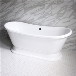 "<br>VTABT73 73"" HOT AIR Massage Whirlpool French Bateau Pedestal Tub Package with 24 Jets"