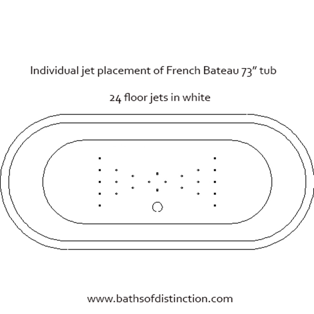 Vtabt73 73 Quot Hot Air Massage French Bateau Tub And Faucet