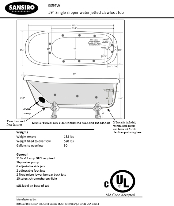 SanSiro Water Whirlpool Jetted Vintage Clawfoot Free Standing Bath Tub - Area code 520 usa