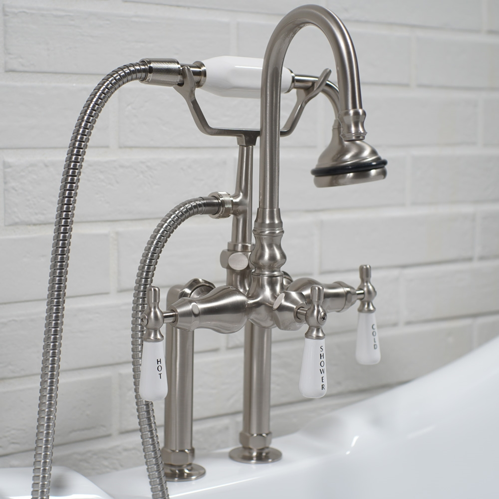 edwardian deck mount tub faucet in brushed nickel
