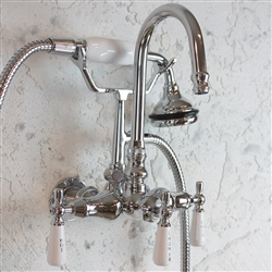 <br>EF10TWMCHR Edwardian Wall Mount Tub Faucet with Handheld Shower in CHROME