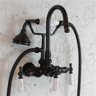 Br Ef10twmorb Edwardian Wall Mount Tub Faucet With Handheld Shower In Oil Rubbed Bronze