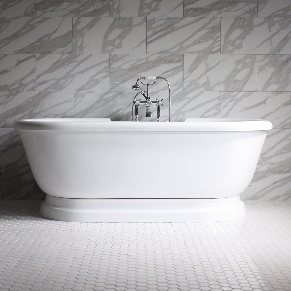 overflow freestanding matte resin double includes bathroom avoca white with slipper tub drain