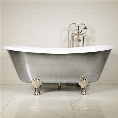 Luxwide Calypso Ach67 67 White Coreacryl Acrylic French Bateau Clawfoot Tub Package With An Aged Chrome Exterior