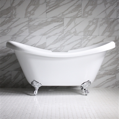 "<br>HLDS67 67"" Hotel Collection CoreAcryl Acrylic  Double Slipper Clawfoot Tub with Feet"