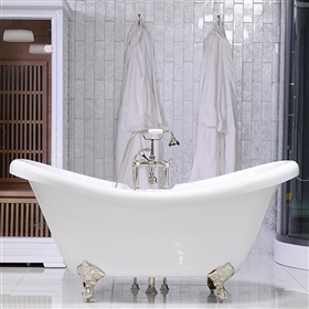 "<br>HLDS73FPK 73"" Hotel Collection CoreAcryl Acrylic Double Slipper Clawfoot Tub and Faucet Pack"