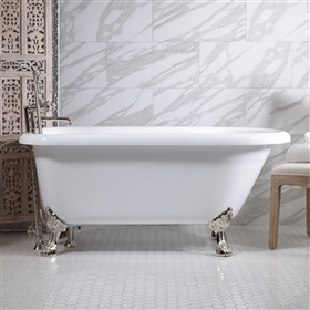 "<br>HLFL62FPK 62"" Hotel Collection CoreAcryl Acrylic  Classic Clawfoot Tub and Faucet Pack"