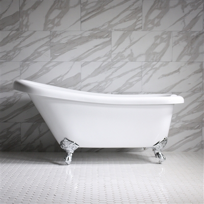 "<br>HLSL59 59"" Hotel Collection CoreAcryl Acrylic Single Slipper Clawfoot Tub with Feet"