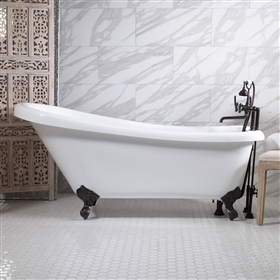 "<br>HLSL59FPK 59"" Hotel Collection CoreAcryl Acrylic Single Slipper Clawfoot Tub and Faucet Pack"