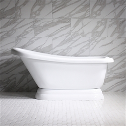 "<br>HLSLPD57 57"" Hotel Collection CoreAcryl Acrylic Single Slipper Pedestal Tub with Base"