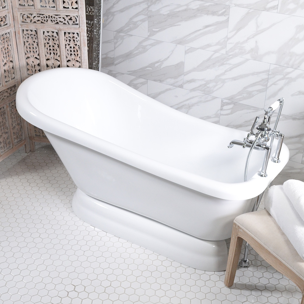 59 Quot Single Slipper Pedestal Tub And Faucet Package