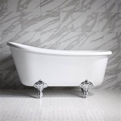"<br>HLSW58 58"" Hotel Collection CoreAcryl Acrylic Swedish Slipper Clawfoot Tub with Feet"