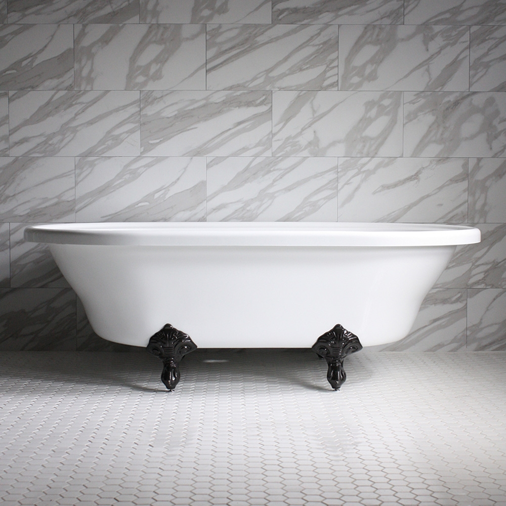 extra long clawfoot tub.  br HLXL73 73 Hotel Collection CoreAcryl Acrylic Extra Large Double Ended Clawfoot Tub