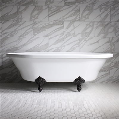 "<br>HLXL73 73"" Hotel Collection CoreAcryl Acrylic Extra Large Double Ended Clawfoot Tub with Feet"