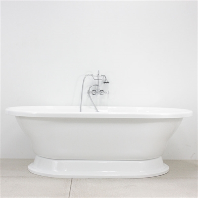 "<br>HLXLPD73FPK 73"" Hotel Collection CoreAcryl Acrylic Extra Large Double Ended Pedestal Tub and Faucet Pack"