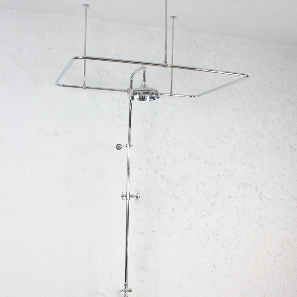 Clawfoot Bath Tub Vintage Shower Enclosure With Riser And Diverter - Clawfoot tub shower fixtures